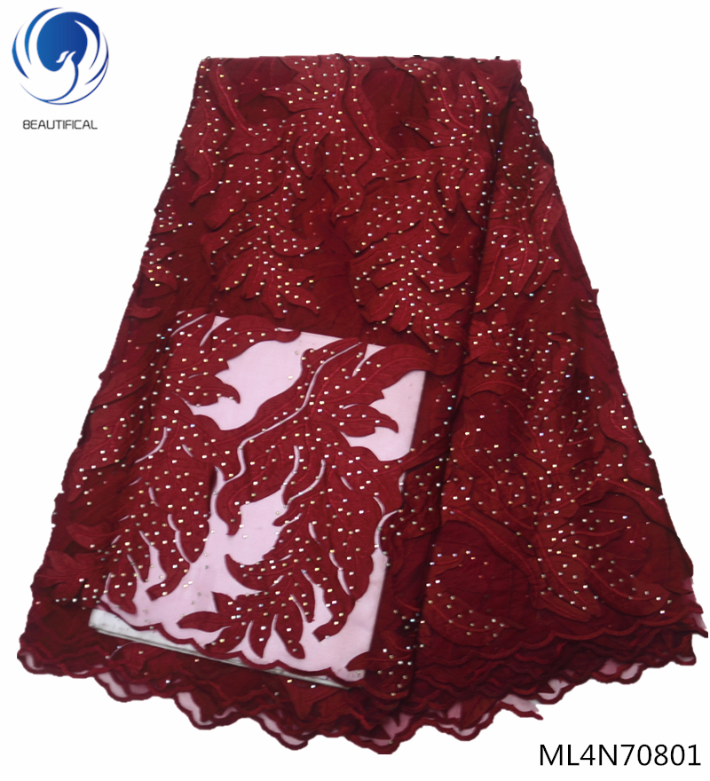 Beautifical french lace fabrics with rhinestones 2019 high quality red net lace fabrics for women dress 5yards/lot ML4N708Beautifical french lace fabrics with rhinestones 2019 high quality red net lace fabrics for women dress 5yards/lot ML4N708