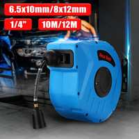 1/4 10M/12M Retractable Auto Rewind Air 260PSI Hose Reel Rotation Wall Mount Air Compressor Hose Reel Auto Rewind Garage Tool