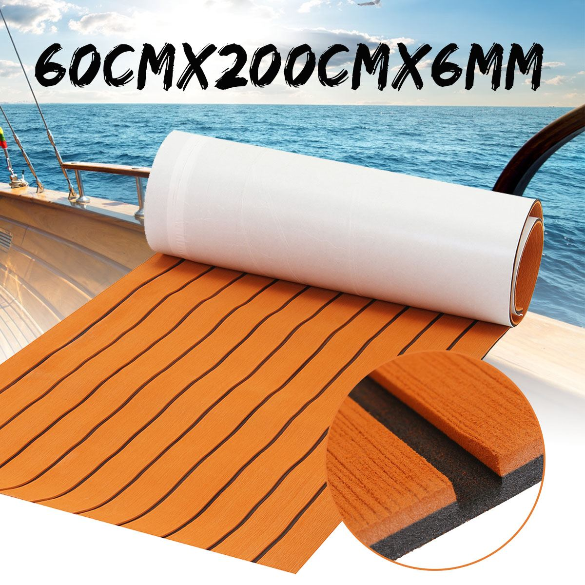 600*2000*6mm Self Adhesive Boat Marine EVA Foam Teak Sheet Teak Boat Decking Synthetic Pad Floor Mat Yacht Cruise Car Boat