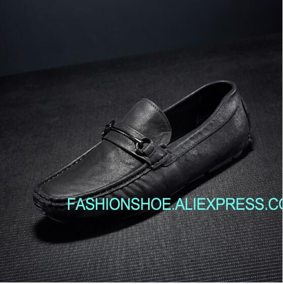 Spring Summer New Genuine leather Mens Loafers Peas Shoes Flat heel Comfortable Leisure Shoes aiyuqi 2018 new spring genuine leather female comfortable shoes bow commuter casual low heeled mother shoes woeme