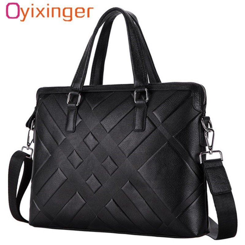 Men's Genuine Leather Briefcase Satchel Bags For Men Business Fashion Soft Cowhide Shoulder Laptop Bag Bolsa Masculina Cartable