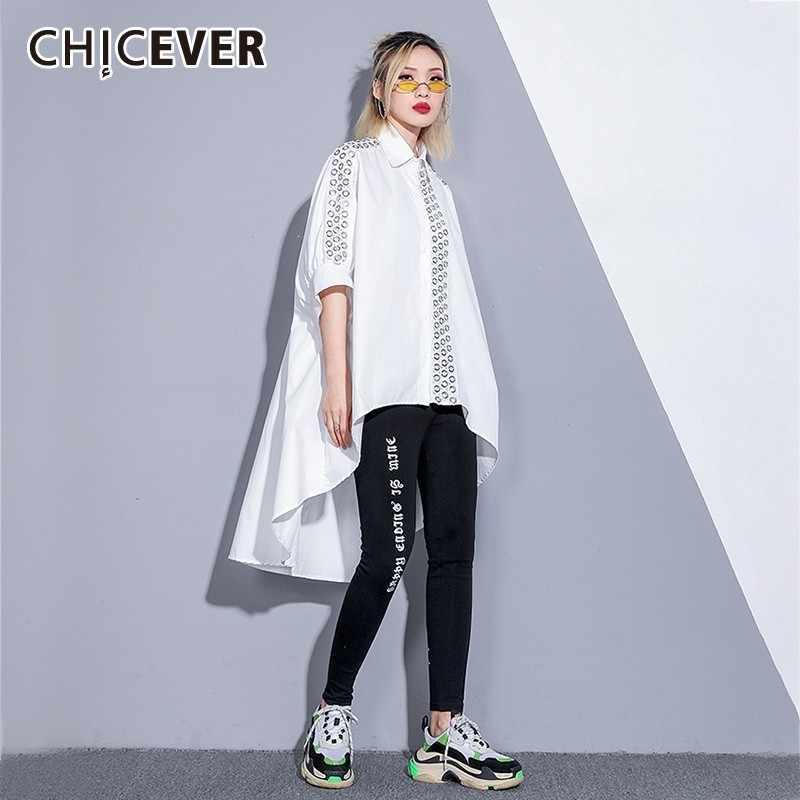 CHICEVER/Весенняя Лоскутная Женская рубашка с квадратным воротником рукав летучая
