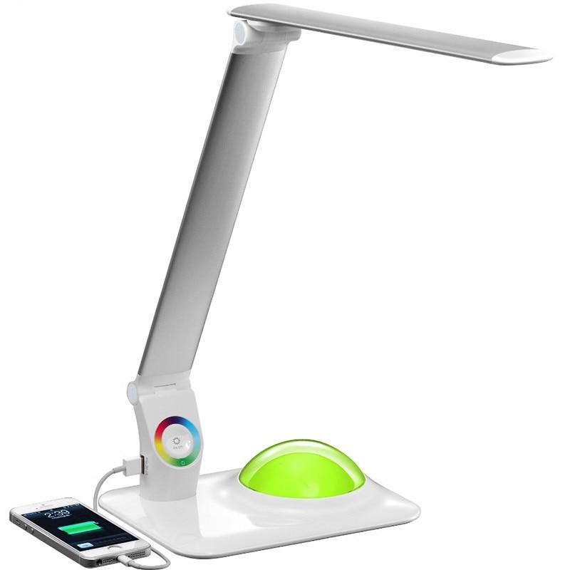 9 w moderne a mené la lampe de Table de bureau avec le Port de Charge 5 v 3 luminosité avec l'atmosphère romantique bureau d'étude de Base d'éclairage de rvb