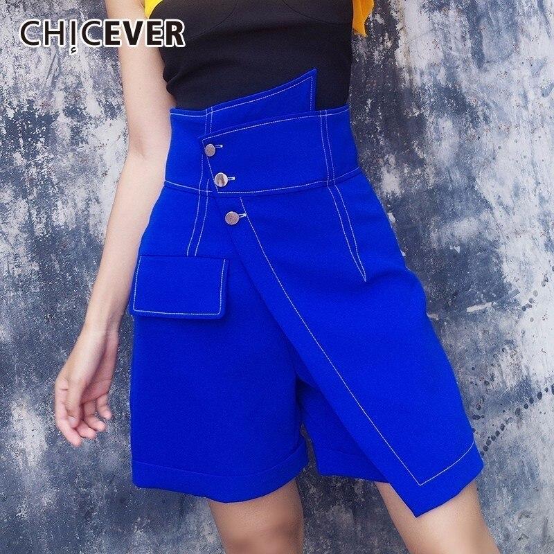 CHICEVER Asymmetrical Shorts For Women High Waist Plus Size Summer Slim Short Feminino 2019 Korean Fashion
