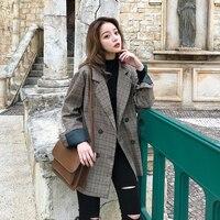 2019 spring Korean version of the plaid suit loose wool coat female models brown long section coat Hot Sale