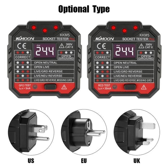 ดิจิตอลจอแสดงผลเครื่องทดสอบซ็อกเก็ตไฟฟ้าผนังปลั๊กขั้ว Phase Check เครื่องตรวจจับแรงดันไฟฟ้า Outlet Test กล้องจุลทรรศน์ UK Plug 30mA