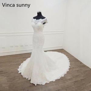 Image 1 - Vestido De Novia 2020 인어 웨딩 드레스 보트 넥 반팔 신부 드레스 가운 mariee 섹시한 레이스 웨딩 드레스