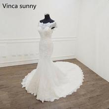 فساتين زفاف Vestido De Novia 2020 حورية البحر رقبة قارب وأكمام قصيرة فستان الزفاف رداء mariee مثير الدانتيل فساتين الزفاف