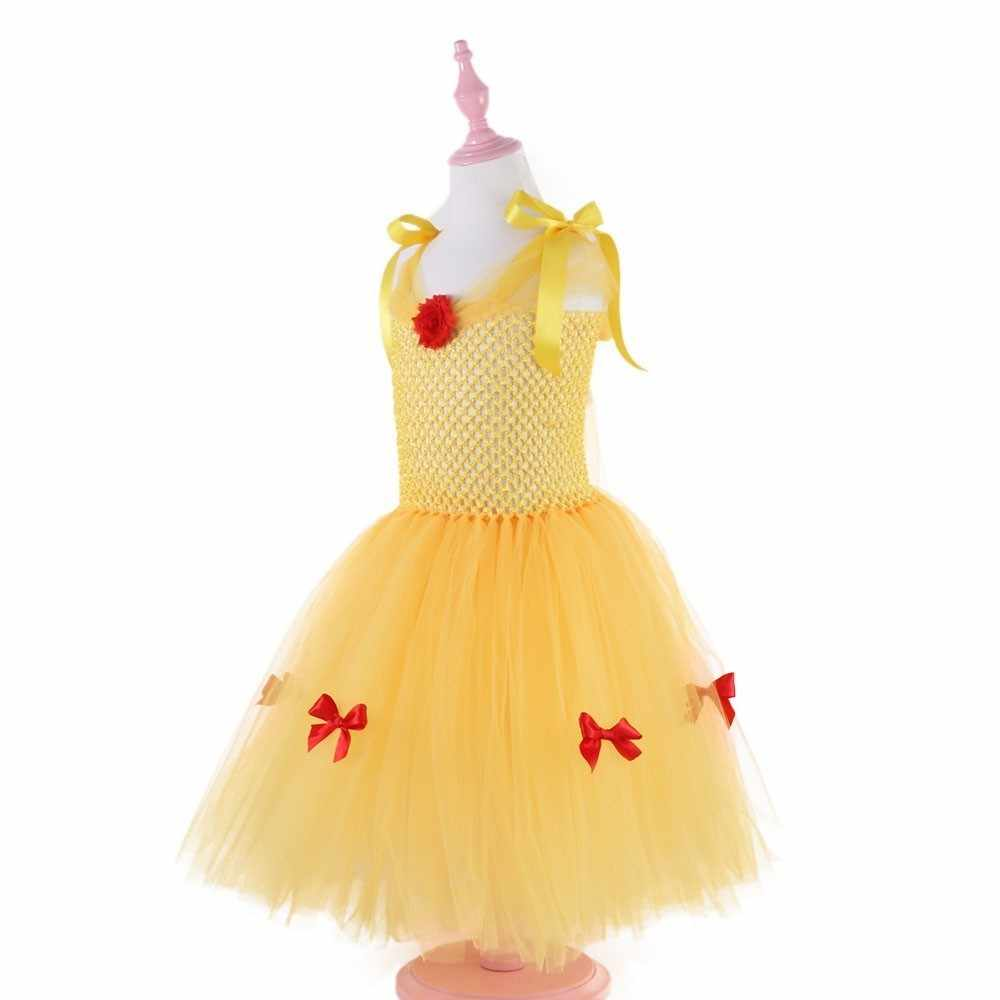 Belle Inspired Tutu Dress Includes a Belted Tutu Dress with Draping Tulle Sleeves and Decoration Yellow Princess Tutu Dress