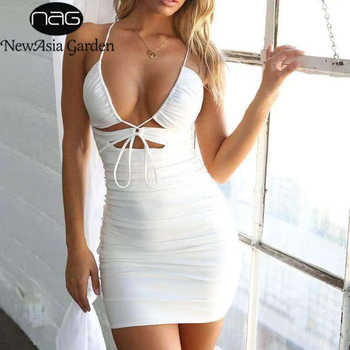 NewAsia Strap Hollow Out Sexy Dress Women Criss Cross Knotted Slim Fit Bodycon Dress White Ruched Club Party Mini Dress Beach