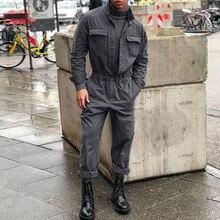 Новинка, мужской комбинезон с длинным рукавом, уличная одежда, мужской комбинезон, верхняя одежда с несколькими карманами, комбинезоны в стиле хип-хоп, спецодежда, комбинезоны DH014