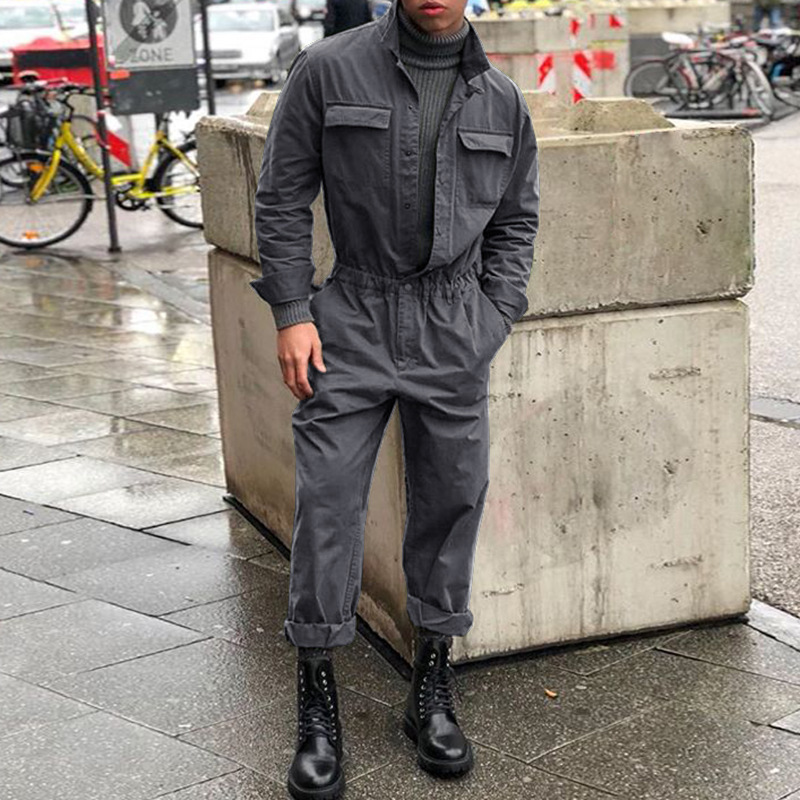 New Men Long Sleeve Streetwear Jumpsuit Men Romper Clothing Outwear Multi-pocket Overalls Hip Hop Workwear Coveralls DH014
