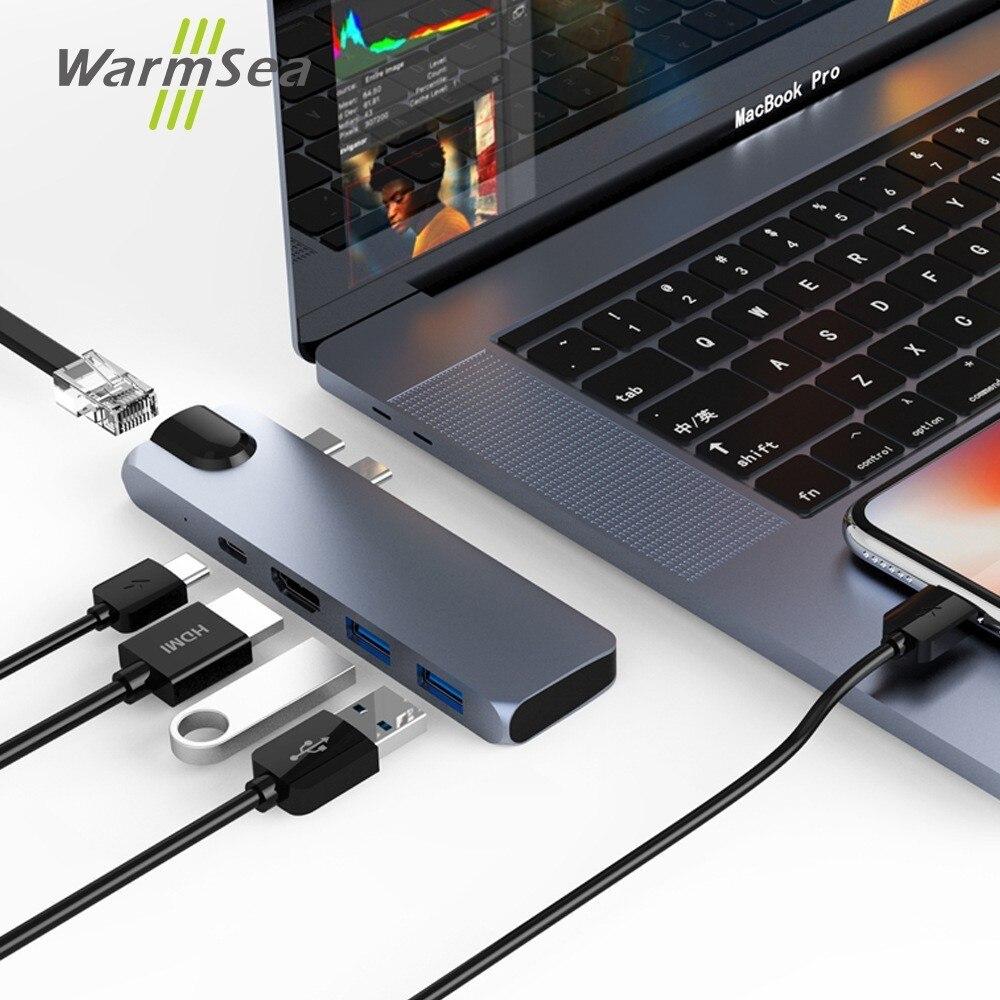 USB C HUB HDMI RJ45 4 k Gigabit Ethernet Thunderbolt 3 Type C Adaptateur Avec Lan hdmi USB avec USB-C chargeur Port pour Macbook Pro