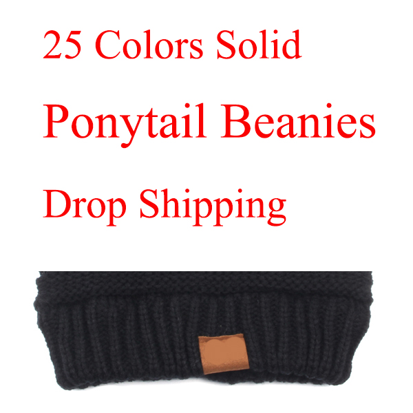 25 Colors Ponytail   Beanie   Women Stretch Knitted Crochet   Beanies   Winter Hats For Women Hats Cap Warm Lady Messy Bun Wholesale