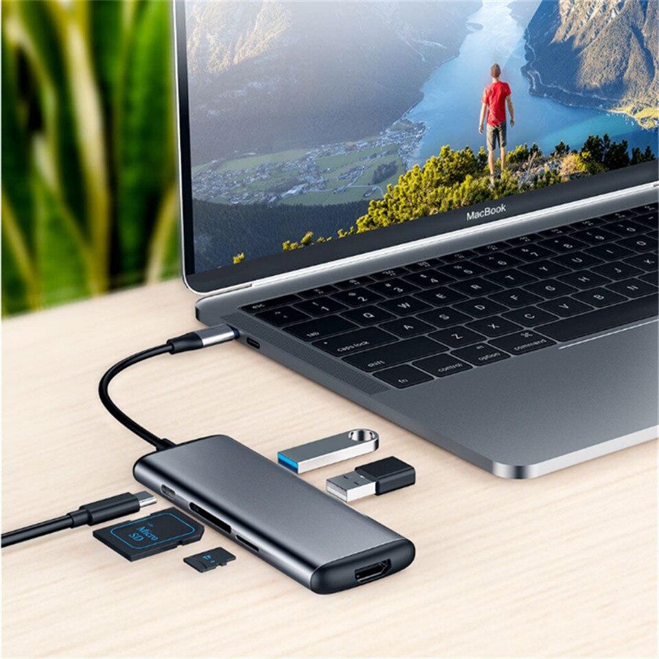 Xiaomi Hagibis 6 dans 1 Type-c à HDMI USB 3.0 TF SD Lecteur de Carte PD Adaptateur De Charge HUB pour iPhone Mobile Téléphone XiaomiHUB