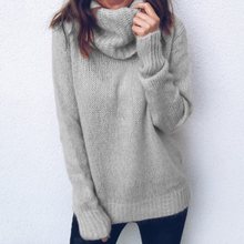 Causal Turtleneck Sweater Women Casual Loose Street Knit Pullovers High Colar Autumn Solid Korean Jumper