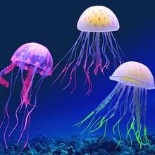 Home Lifelike Decoration Luminous Artificial Jellyfish Water Tank Silicone Aquarium Vivid Safe
