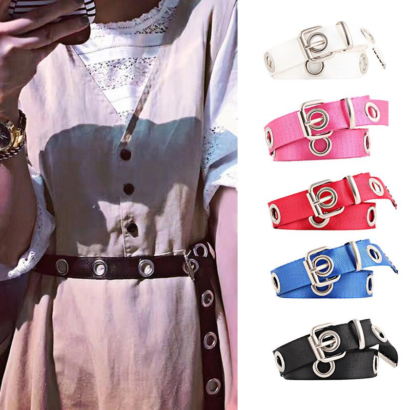 Women Students Canvas Waist   Belts   Silver Pin Buckle Waistband Fashion Long Personality Casual Metal Ring Wild   Belt