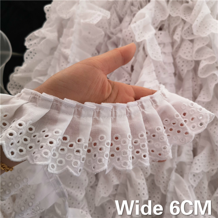 6CM Wide White 3D Cotton Folded Lace Embroidered Neckline Collar Applique Ribbon Ruffle Trim Dresses Guipure DIY Sewing Supplies(China)