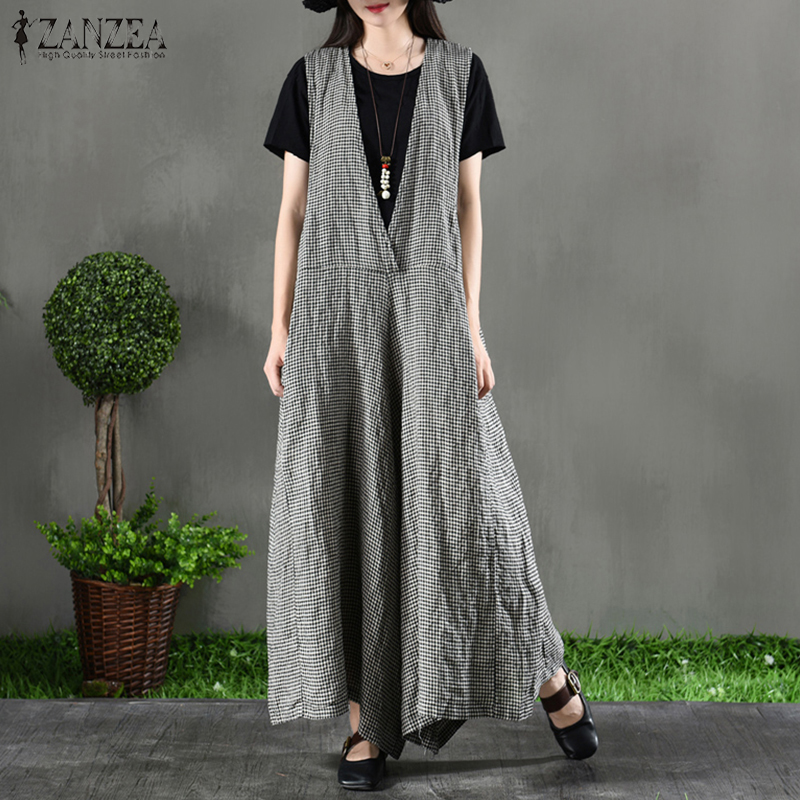 ZANZEA Women Casual V Neck Sleeveless Plaid Checked Rompers Wide Leg Pants Female Loose Summer   Jumpsuits   Overalls Plus Size