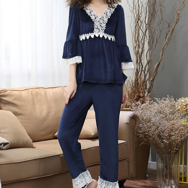 8 Colors Autumn Winter Warm Pajamas Set Women Deep V Neck Flannel Sleep Set Sexy Homewear Pijama Women Long Pant Set