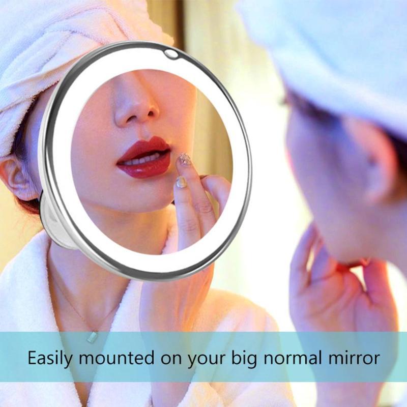 360 Degree Rotation LED Makeup Mirrors Round Suction Cup 10X Magnifying Illuminated Makeup Mirror Makeup Tools