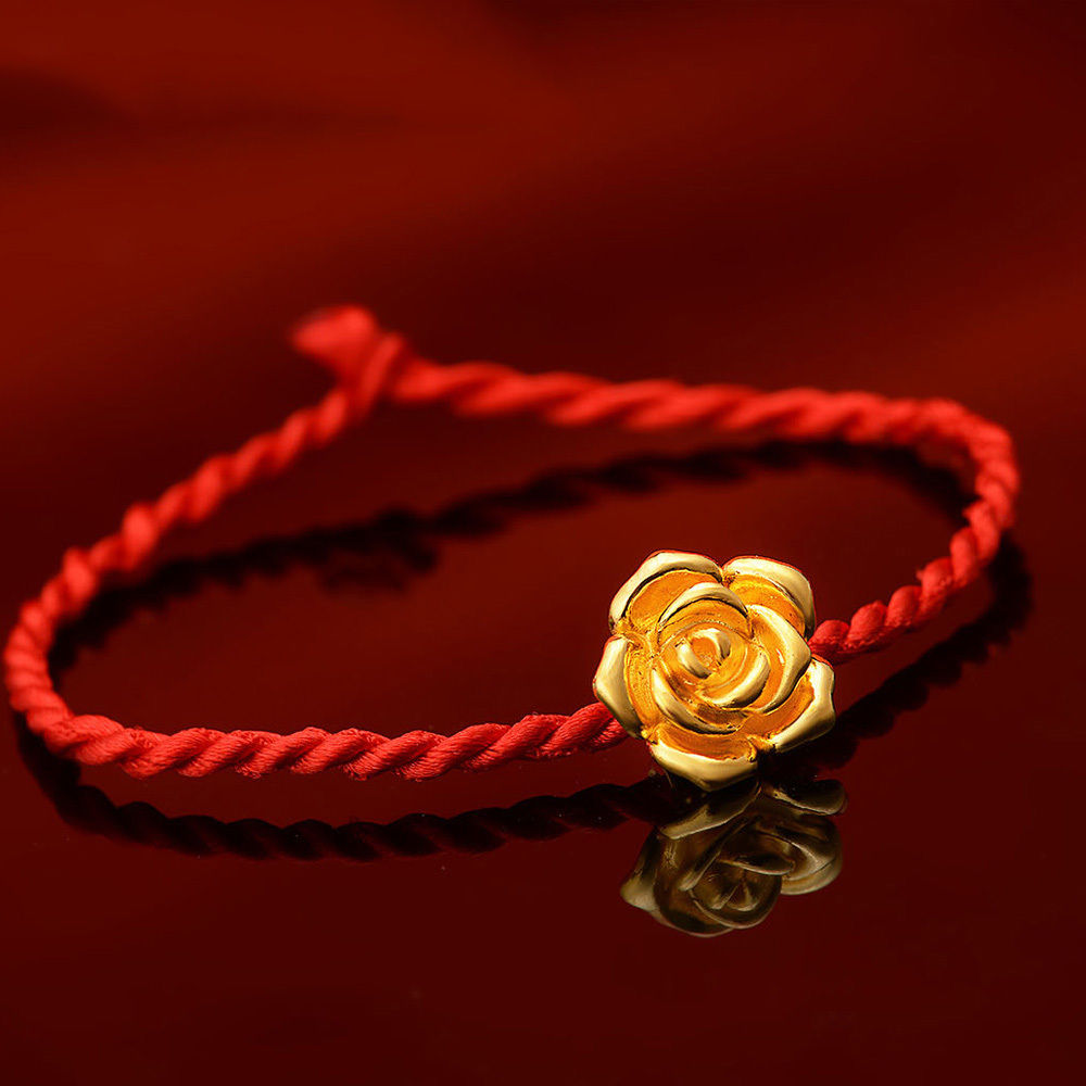 2018 New Pure 24K Yellow Gold Pendant 3D Rose Flower Bead For Bracelet 1-1.5g2018 New Pure 24K Yellow Gold Pendant 3D Rose Flower Bead For Bracelet 1-1.5g