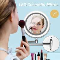 LED Makeup Mirror With Light Folding Double Wall Mount Vanity Mirror 10x USB Charging Touch Dimming Mirrors Christmas Gift