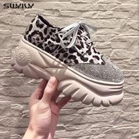 SWYIVY Leopard Shoes For Women Platform Sneakers Women Casual Shoes Female 2019 Ladies Shoe Chunky Heels Women's Sneakers Black