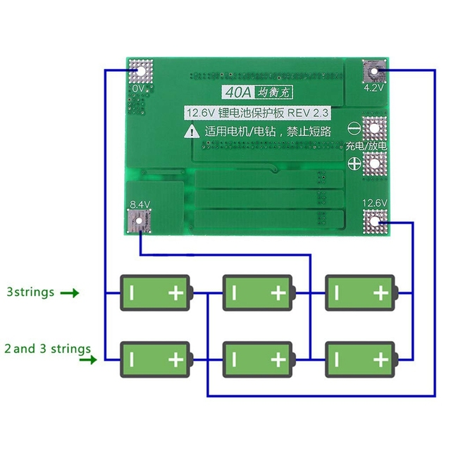 3S 40A 18650 Li-Ion Lithium Battery Charger Protection Board Pcb Bms For Drill Motor 11.1V 12.6V Lipo Cell Module 4