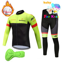 2018 kids Winter Fleece Thermal Cycling Team sky Cycling Jersey Wear Clothing Ropa Ciclismo Mtb Bike Bicycle Long Clothing