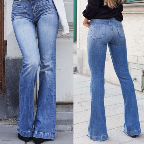 Women Denim Bootcut   Jeans   Stretch Wide Leg Denim Pants Flare Bell Bottom Female
