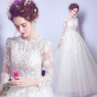 Wedding Dress 2019 3/4 Sleeve Vintage Bridal Dresses Vestido De Novia Applique Lace Bridal Gown Bride Dresses Lace Up