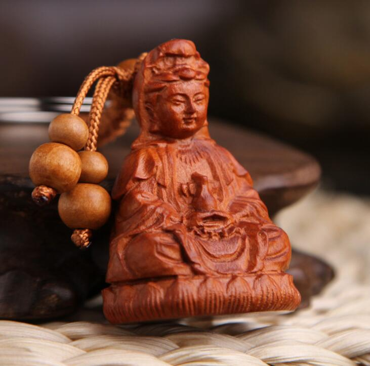 Chinese Peach Wood Carved Lotus Flower Jade Bottle Guan Yin Kwan-yin Bodhisattva Exquisite Car Key Chain Pendant