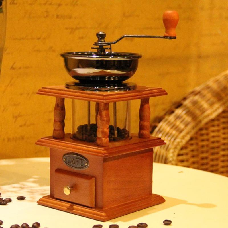 Betrouwbare Klassieke Retro Hand Crank Koffiemolen Houten Handleiding Koffiezetapparaat Moer Spice Graan Mini Braam Molen Keuken Bar Tool