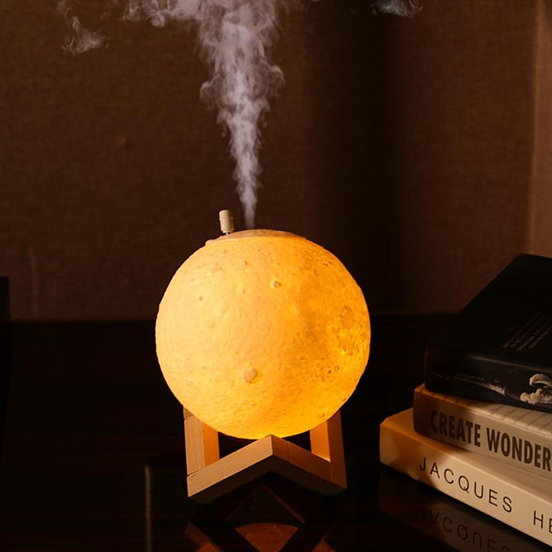 880ML Air Humidifier 3D Moon Lamp Light Diffuser Aroma Essential Oil USB Ultrasonic Humidificador Night Light Cool Mist Purifier