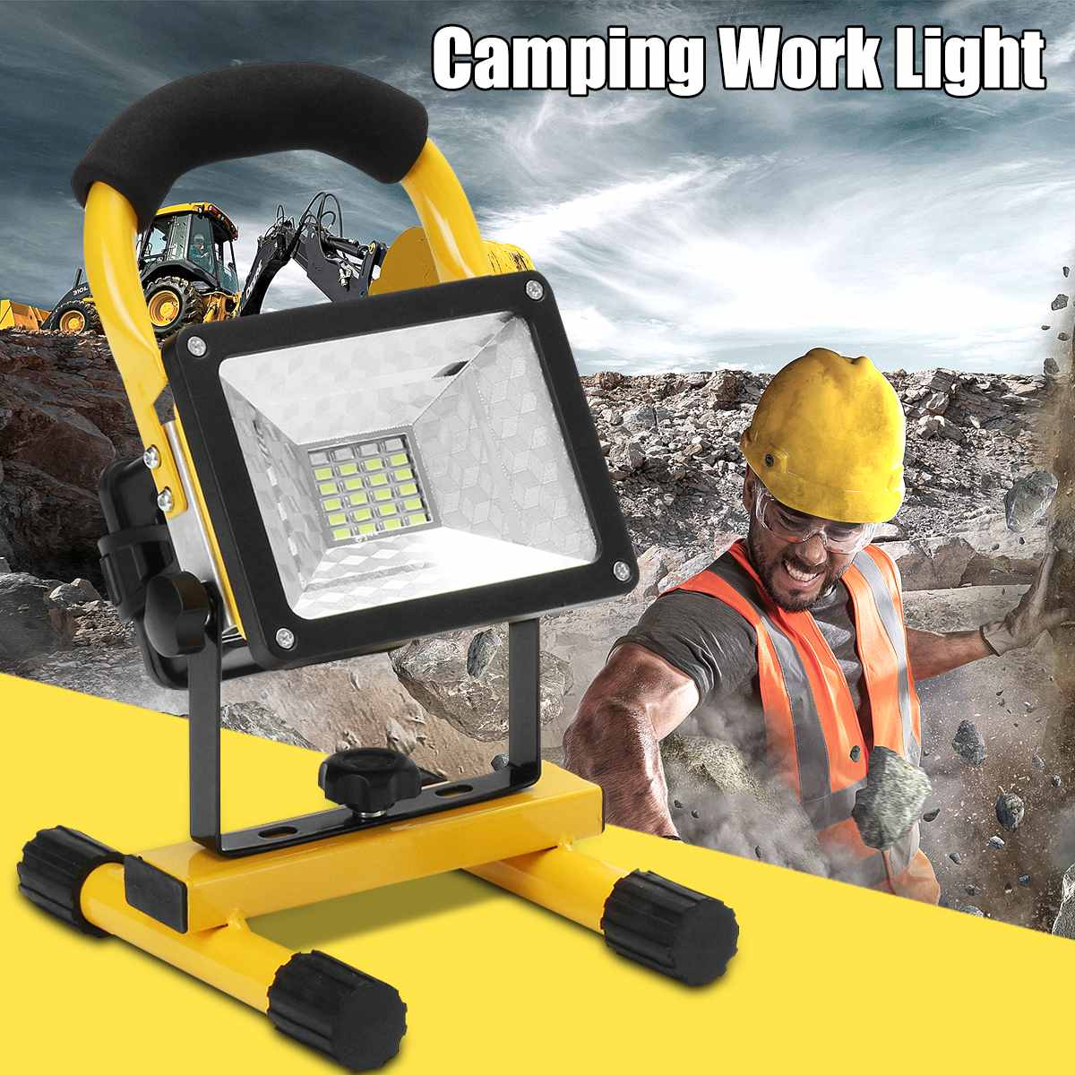 2000LM COB LED Portable Spotlight Searchlight Camping Light Rechargeable Handheld Work Light Power By 18650 Portable Lantern