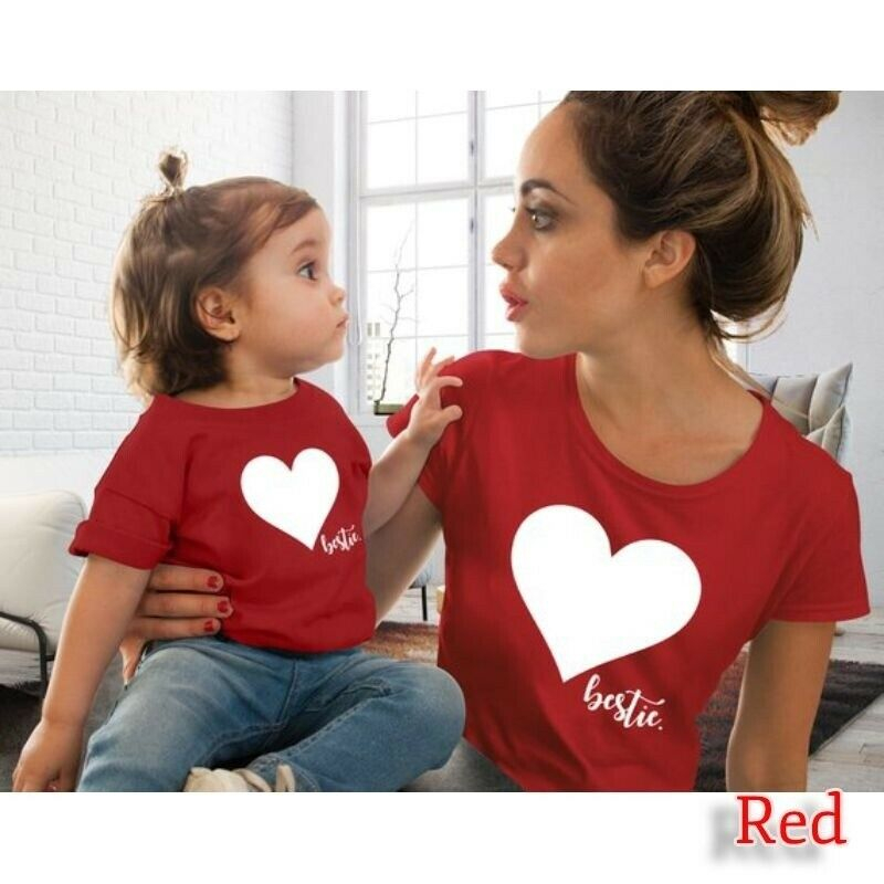 Family Outfits Clothes Mother Daughter Kids Matching T-shirt Womens Girls Tops