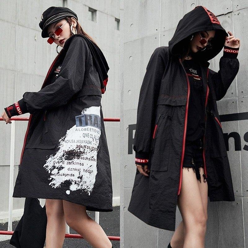 Long Dames Lulu Noir Max Manteau Mode Capuche Printemps Taille À vent Femmes Grande Décontracté Femelle Punk Imprimé Coupe Coréenne 2019 Tranchée 08xgqwxX