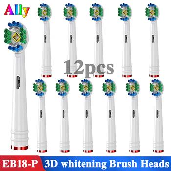 12 sztuk dla Oral B 3D biały wymiana elektryczne głowice do szczoteczek do zębów dla Braun Oral B Triumph Vitality elektryczne głowice do szczoteczek do zębów tanie i dobre opinie EB-18 12PCS Dorosłych Z tworzywa sztucznego Szczoteczki do zębów głowy