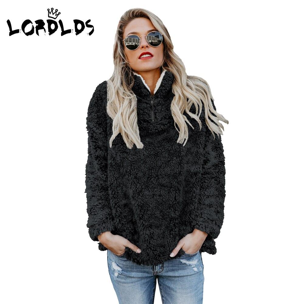 LORDLDS Winter Fleece Jacket Women Oversized Black Casual Zipper Thick Long Sleeve Ladies Pullover Coat Outwear 2018