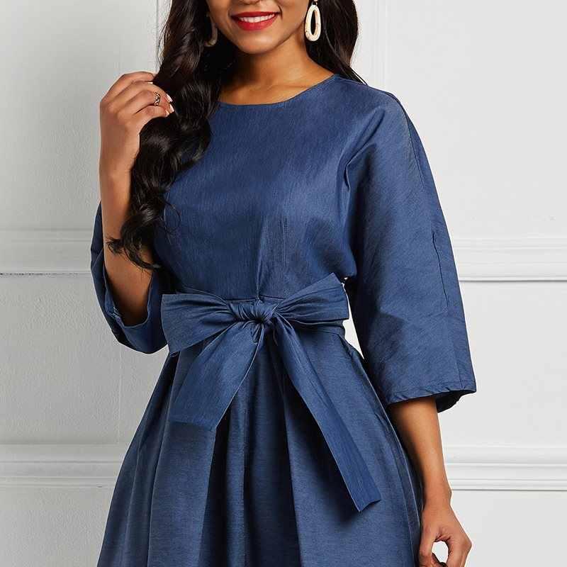 Офисные женские винтажные элегантные вечерние платья, хит продаж 2019, женские длинные платья, повседневное джинсовое Ретро простое кружевное платье с бантом, элегантное женское синее Макси платье