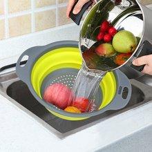 2 шт./компл. складной силиконовый дуршлаг фрукты овощи стиральная корзина Стрейнер складной осушитель ручка Кухня инструменты