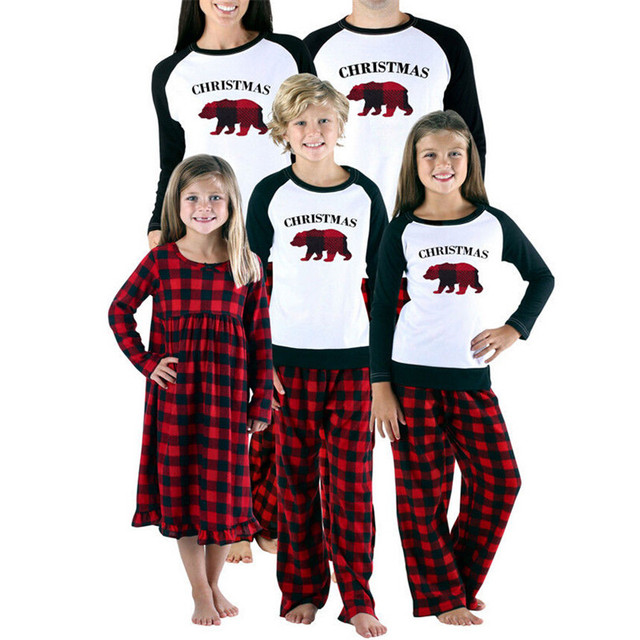 e5dedcad6d 2019 Family Matching Christmas Pajamas Set Adult Women Men Kids Long Sleeve Red  Plaid Sleepwear New