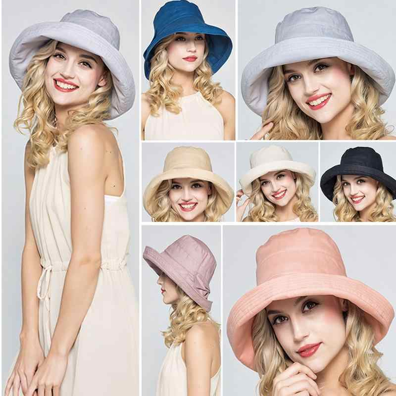 b584f0b530d Detail Feedback Questions about Women s Summer Hat Cotton Sun Visor Sun  Solid Cap Curling Brim Outdoor Sunshade Large Brimmed Beach Hat Fisherman  Hat One ...