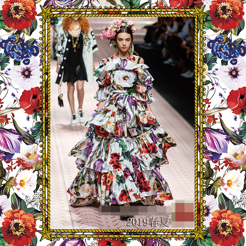 2019 montrer nouveau tissu imprimé fleur pour robe jupe chemise à la main bricolage tissu bon satin polyester tissu en gros-in Tissu from Maison & Animalerie    1