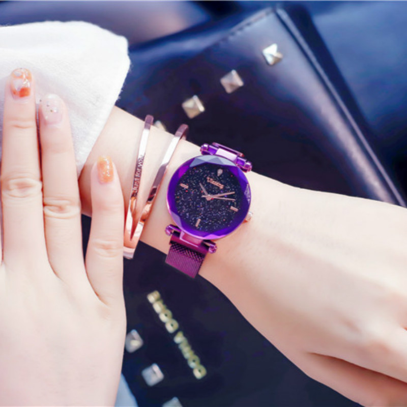Gold Magnet Mesh Star Watch Girl Student Korean Version Simple Trend Ulzzang Shake Voice Same Lazy Slacker  relojes mujer 2018