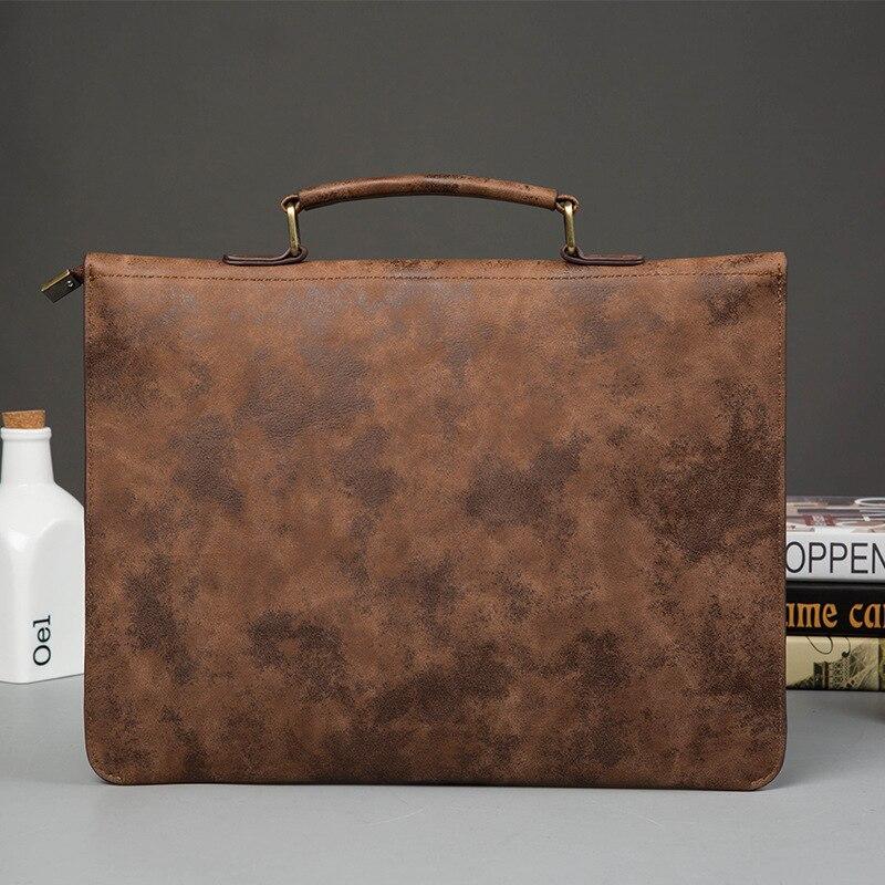 Image 2 - Vintage PU Leather Men Handbag Leisure Mens Bag Business Messenger Bags Portable Briefcase Laptop Package Slim Handbags Malebriefcase businessbusiness briefcasebusiness messenger bag -
