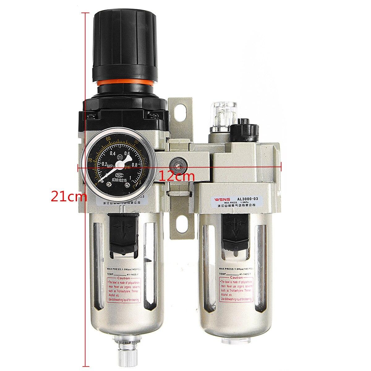 3/8 compresseur d'air lubrificateur d'huile humidité piège à eau filtre régulateur jauge en alliage d'aluminium pièces pneumatiques matériel mécanique - 2