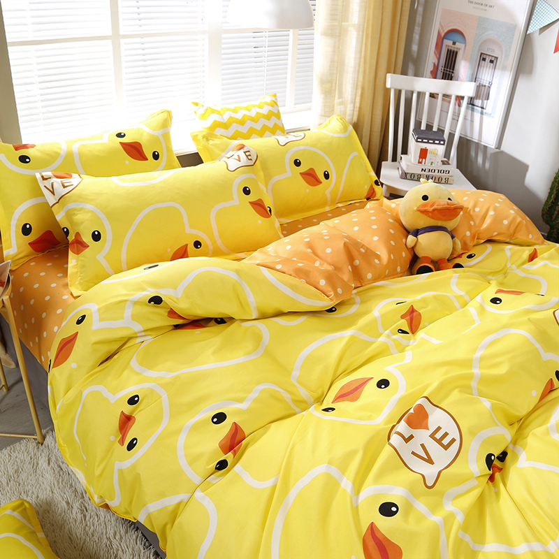 High Quality Yellow Duck Cartoon Style Bedding Set Bed Linings Duvet Cover Bed Sheet Pillowcases Cover Set 4pcs/set 51